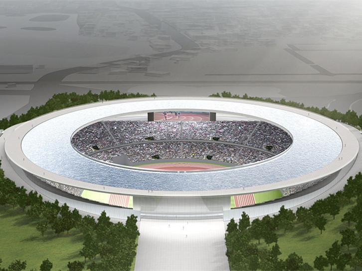日本奥林匹克体育场馆喷泉景观