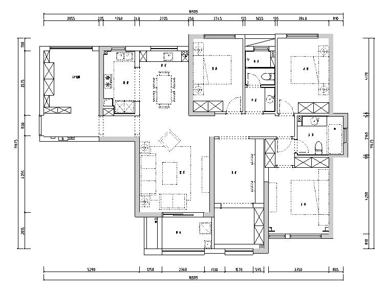 [湖北]现代美式混搭风格住宅设计施工图(附效果图)
