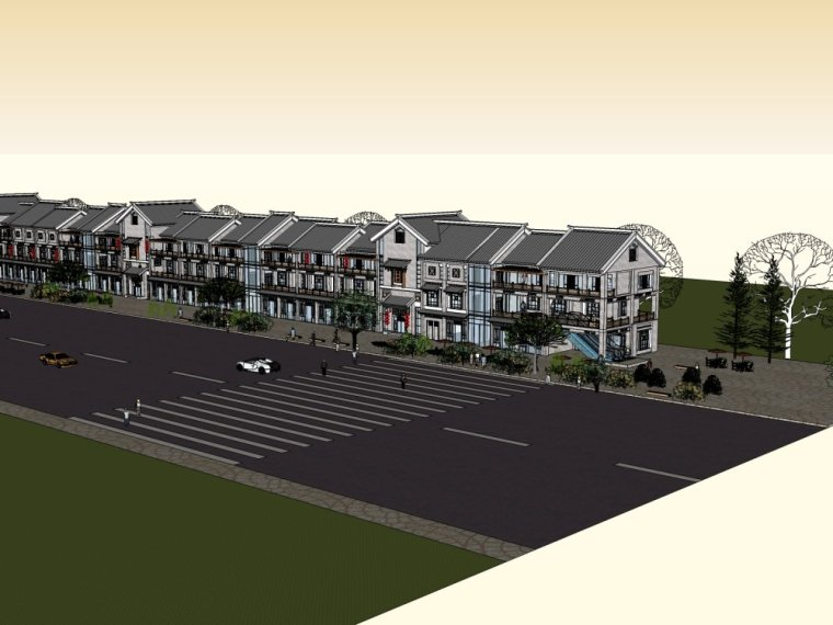 商业街中式风格三层建筑方案设计(SU模型)-20150805_223509_059