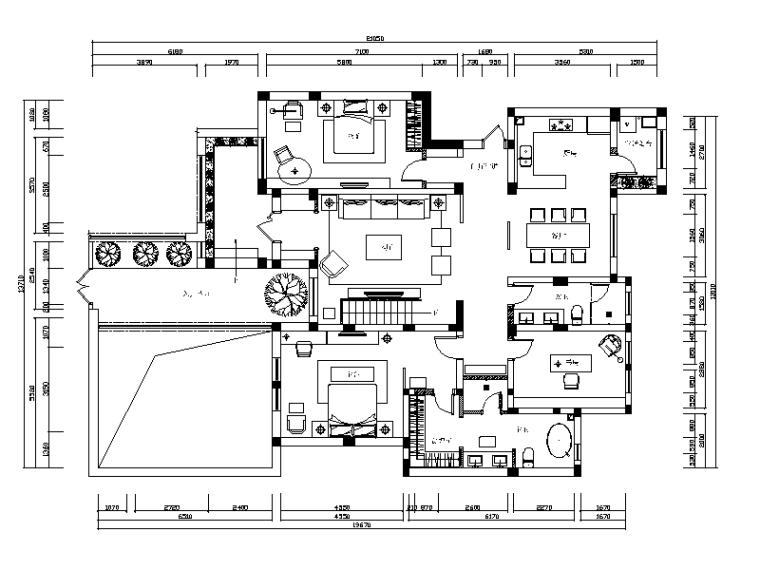 [河北]新中式别墅设计CAD施工图(含效果图)