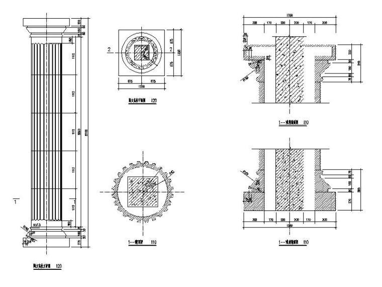 罗马柱石材干挂详图
