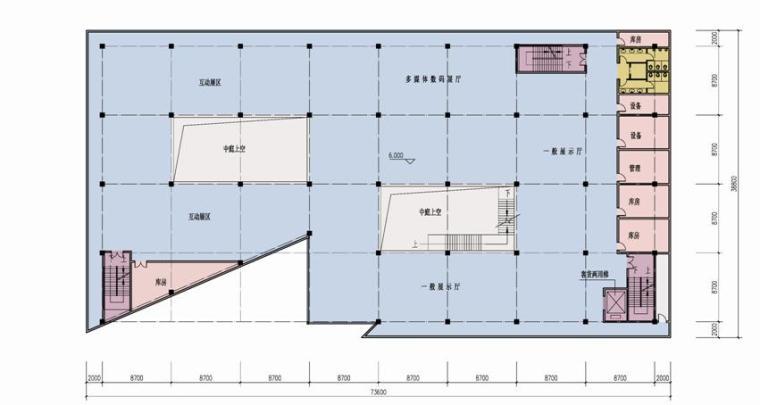 [四川]现代风格石材外墙科技展览馆重建建筑设计方案文本-现代风格石材外墙科技展览馆重建建筑平面图