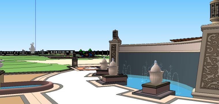 新古典主义居住区景观模型 8