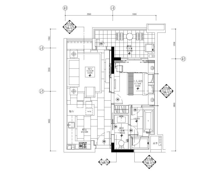 [广东]梁志天-广州雅居乐科学城公寓1号户型一居室样板房全套施工图+效果图+物料