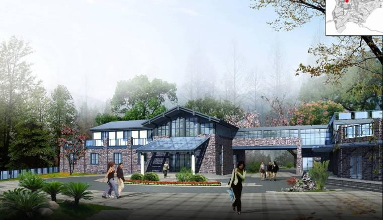 [重庆]丰都旅游休闲度假小镇规划设计(巴渝风情)-旅游休闲度假小镇规划设计——度假社区入口效果图