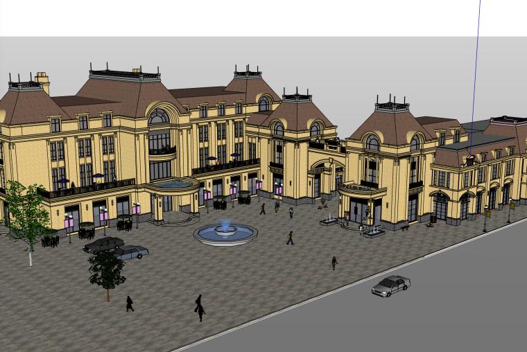 法式商业步行街建筑SU模型