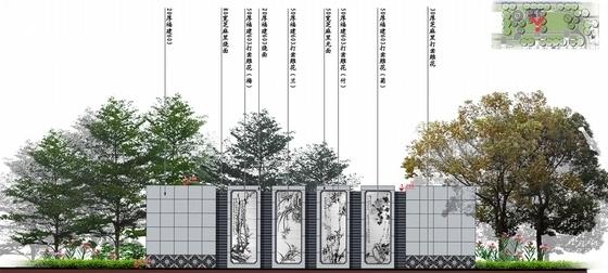 [北京]诗情画意山水住宅商业深化设计方案(图纸精美)-景墙立面图