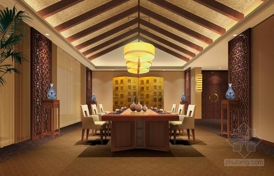 [河北]奢华古典山水园林式宾馆精装修设计方案图总统餐厅效果图