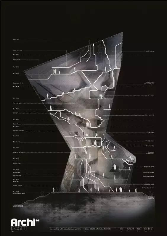 那些霸气的建筑剖面图_29