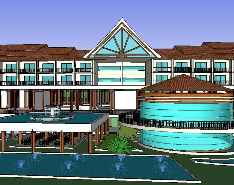 特色欧陆风格酒店及旅馆SU模型设计