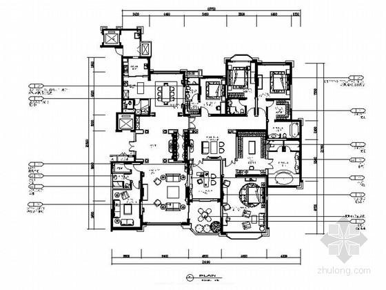 [吉林]古典欧式风格五居室样板房及标准电梯厅室内装修施工图(含方案效果图 推荐!)