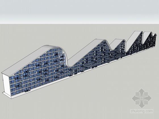 流线建筑SketchUp模型下载-流线建筑