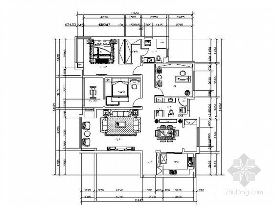 [毕业设计]中式风三居室装修设计CAD施工图(含效果)