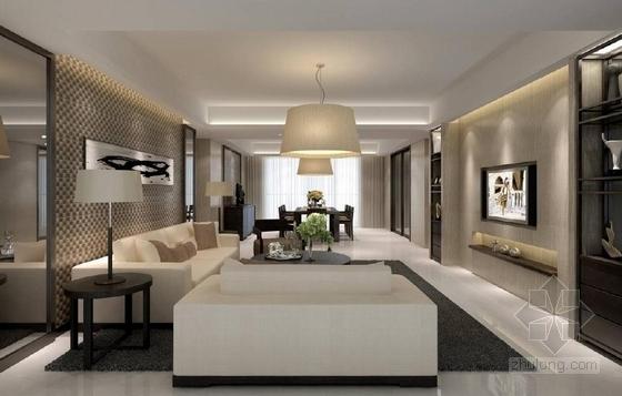 [深圳]花园洋房二期现代销售中心及样板房设计方案客厅效果图