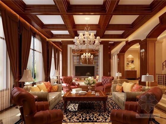 经典别墅客厅效果图3D模型下载