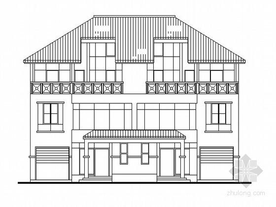 [广州番禺]某三层花园并联别墅建筑方案图