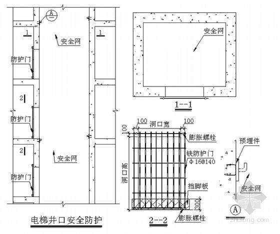[湖北]框架核心筒结构超高层写字楼施工组织设计(720页)-电梯井口安全防护