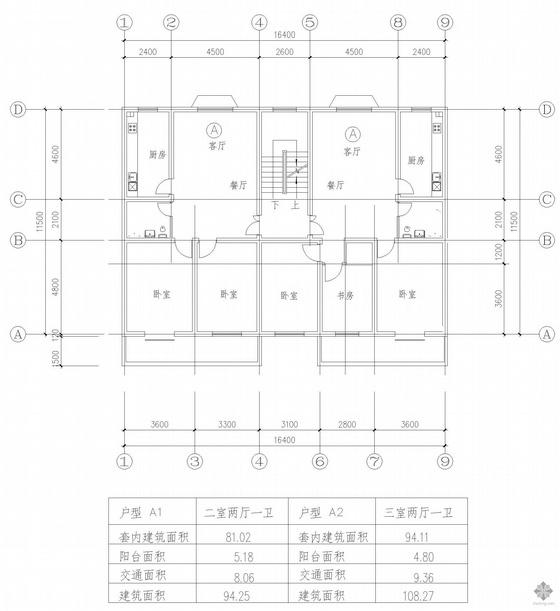 板式多层一梯两户二室二厅一卫户型图(94/108)