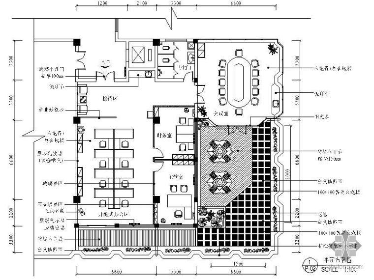 U形办公资料下载-[青岛]某房地产公司办公室装修图