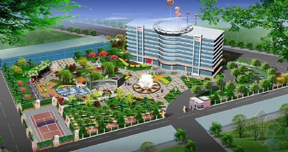 某办公楼广场景观设计方案