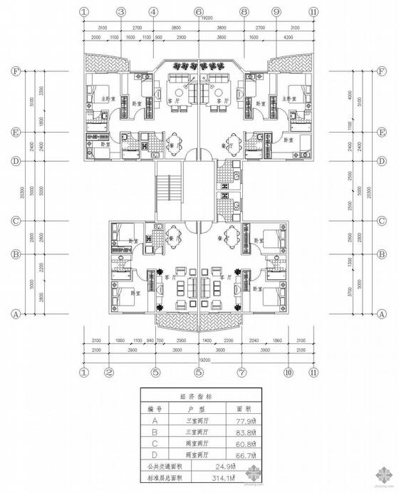 塔式多层一梯四户户型图(78/84/61/67)