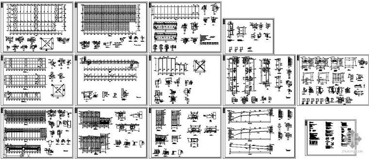 某钢结构工业车间(带附房和吊车)结构设计图