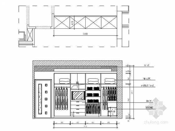 [浙江]海滨公园现代高档两居室装修施工图主人房立面图