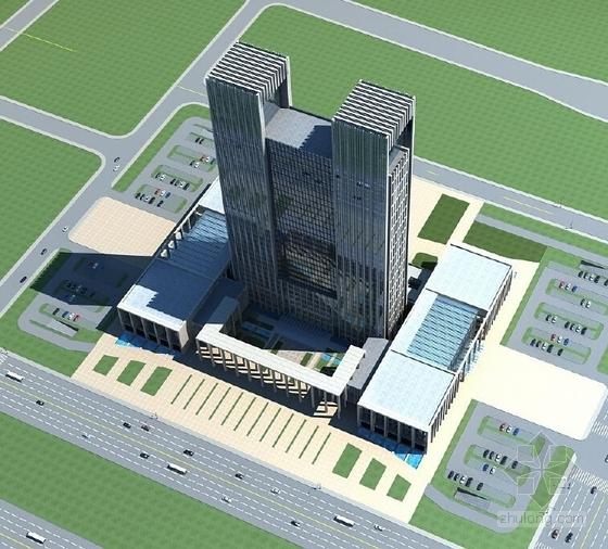 [西安]39层180米办公综合体建筑设计方案文本-39层180米办公综合体效果图