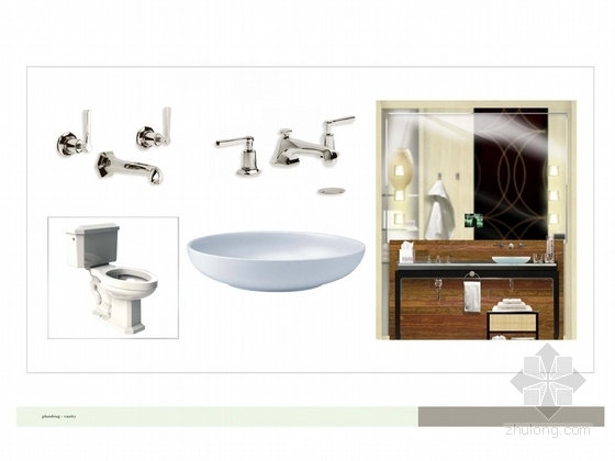 [广州]市中心核心地带五星级商务酒店客房方案设计 卫生间立面图