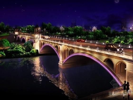 [江西]8孔净跨径25m空腹式浆砌片石板拱桥改造设计施工图(桥面基础 照明亮化)