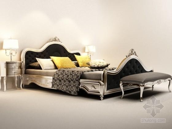 欧式经典床3d模型下载