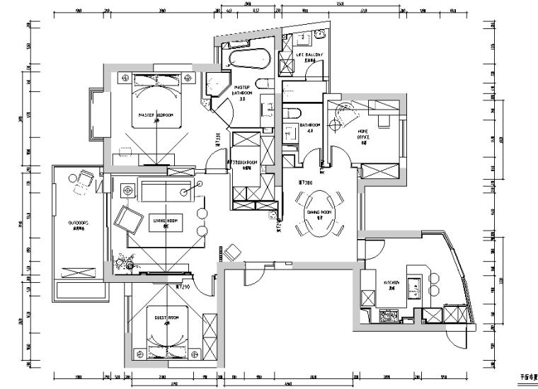 赞成林枫黑色空间现代简约样板间设计施工图(附效果图)