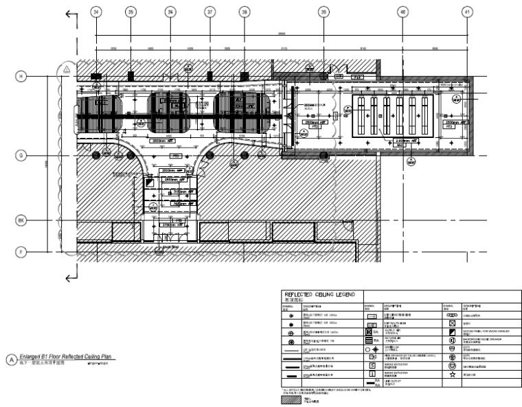 [北京]银泰中心商业公共区域设计施工图(附效果图+物料表+结构图纸+消防图纸)-放大吊顶平面图
