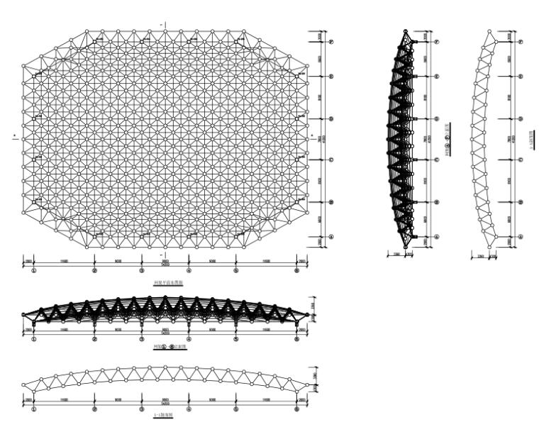 风雨球场正放四角锥螺栓球网架结构施工图(CAD、21张)