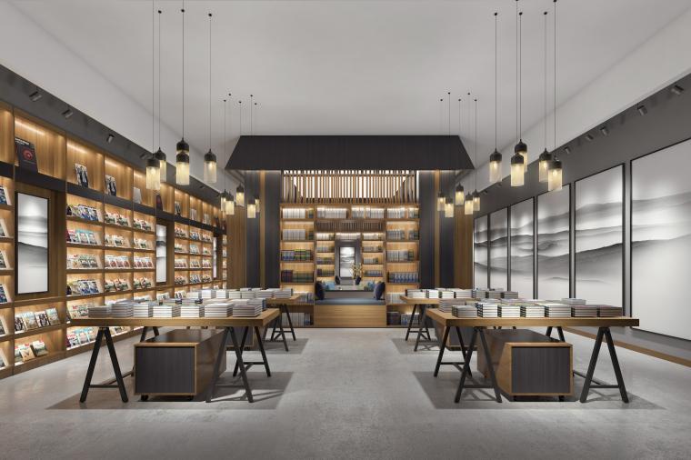 新中式风格书店空间设计3D模型(附设计施工效果图)