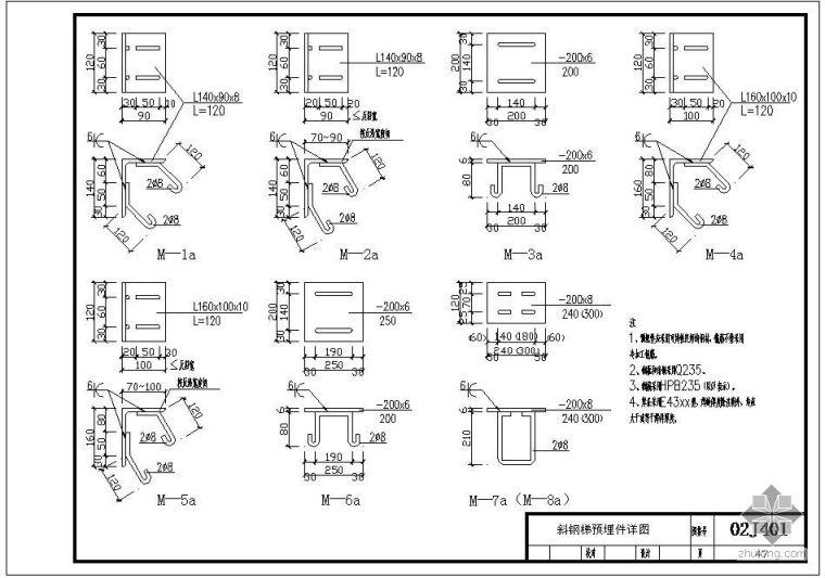 02J401某斜钢梯预埋件节点构造详图