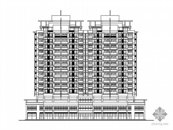某十四层一梯四塔式顶层复式商住楼建筑CAD方案图