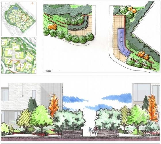 [陕西]高级别墅景观设计概念方案-组团入口