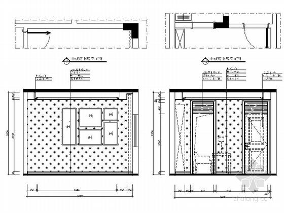 [郑州]北环商圈区典雅新中式三层别墅装修施工图书房立面图