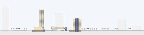 [上海]辐射组合型现代化商业及办公综合体设计方案文本-辐射组合型现代化商业及办公综合体剖面图