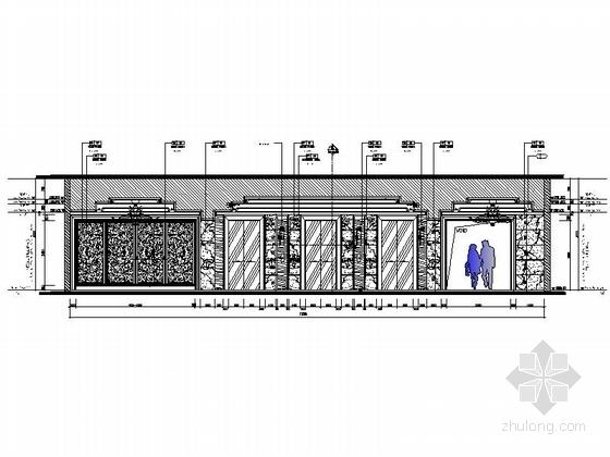 精品现代办公室室内装修施工图电梯间立面图