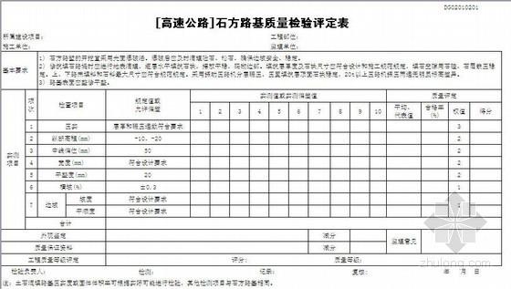 东莞市公路工程分项工程质量检验评定表