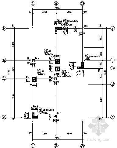 二层框架异形柱结构别墅结构施工图(坡屋顶)