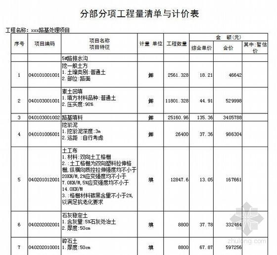 [山东]某路基处理项目工程量清单报价(2013)