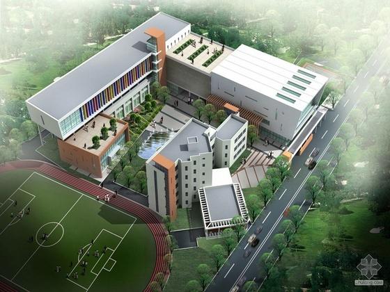 [上海市]某中学门卫、体育馆设计报批方案(有效果图)