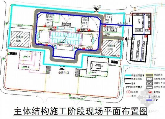 [天津]框架剪力墙结构图书馆工程施工组织设计(210页技术标)-主体施工阶段平面布置图