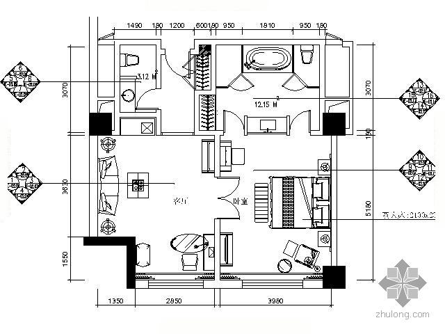 [哈尔滨]五星酒店标准套房施工图