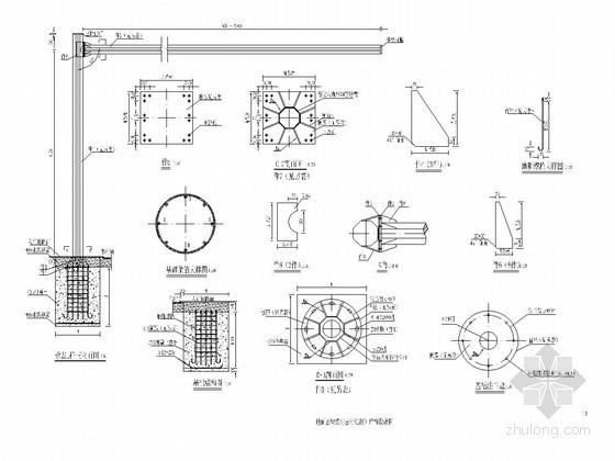 地面悬臂式标志杆(L杆)结构设计图CAD