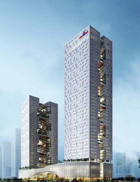 现代风格超高层知名企业办公楼效果图