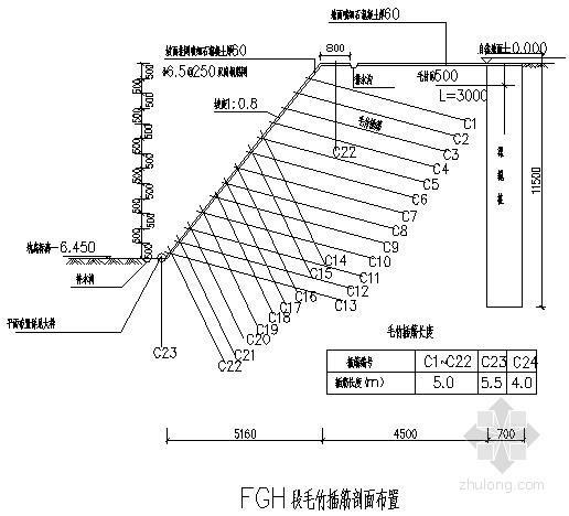 某基坑工程土钉墙结合毛竹护坡支护施工设计图